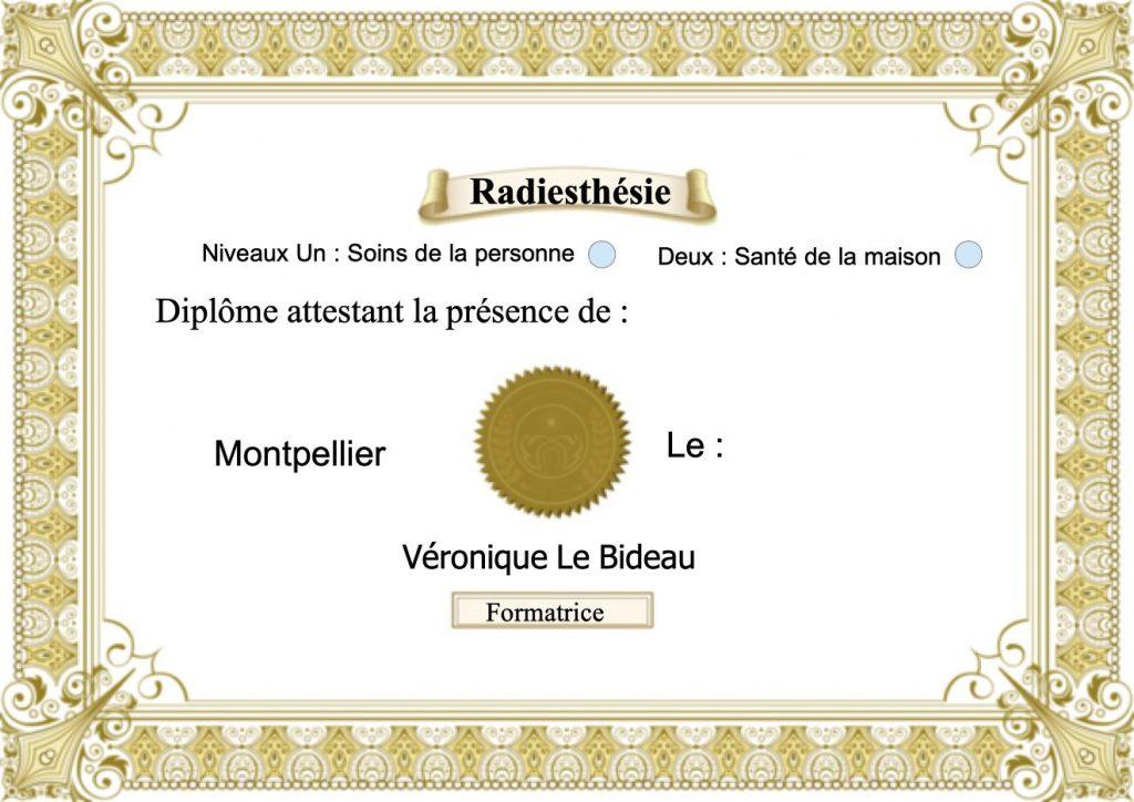 Diplome de radiesthésie de Véronique Le Bideau à Montpellier