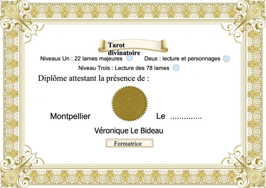 Le diplome de Tarot divinatoire de Véronique Le Bideau